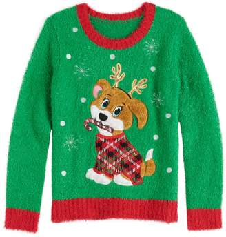 It's Our Time Its Our Time Girl's 7-16 Plus Size Christmas Puppy With Antlers Pullover Sweater
