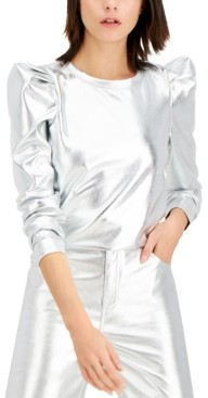 INC International Concepts Inc Plus Size Metallic Puff-Sleeve Top, Created for Macy's