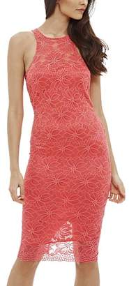 AX Paris Women's Casual Dresses Coral - Coral Floral Lace Bodycon Dress - Women