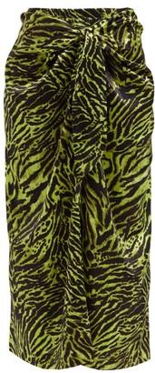 Ganni Knotted Tiger-print Silk-blend Midi Skirt - Animal