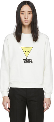 MAISON KITSUNÉ White Large Smiley Fox Sweatshirt