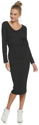 Almost Famous Juniors' Long sleeved Double V Necked Midi Dress with D-ring Belt