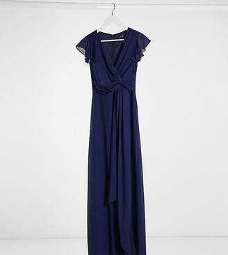 TFNC Petite bridesmaid flutter sleeve ruffle detail maxi dress in navy