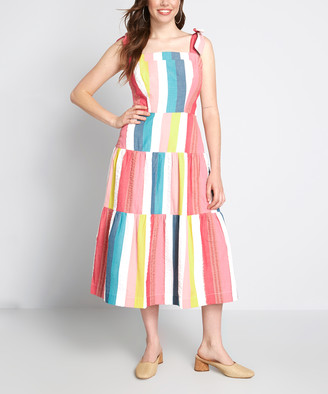 Emily And Fin Women's Maxi Dresses Rainbow - White Rainbow Stripe Vacation Day Midi Dress - Women
