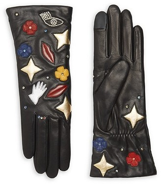 Agnelle Patch Cashmere-Lined Leather Gloves