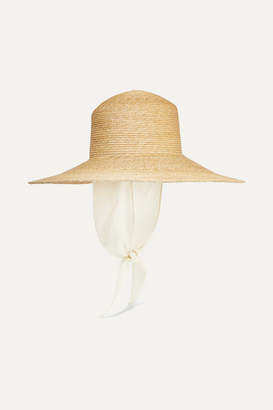 CLYDE Cotton Gauze-trimmed Straw Sunhat - Sand
