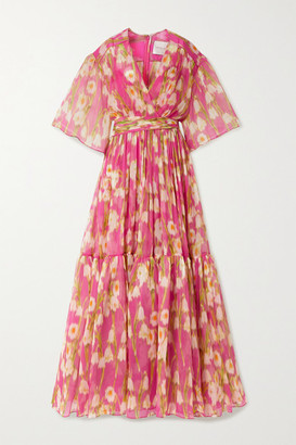 Carolina Herrera Tiered Floral-print Silk-crepon Maxi Dress - Pink