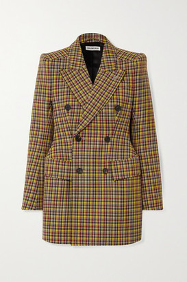 Balenciaga Double-breasted Checked Wool Blazer - Brown