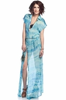 Gypsy 05 Carine Maxi Button Up Dress in Blue