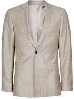 Topman Stone Crosshatch Wool Skinny Fit Suit Jacket