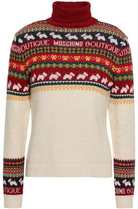 Boutique Moschino Metallic Jacquard-knit Turtleneck Sweater