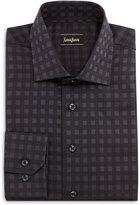 Neiman Marcus Square-Print Button-Front Shirt, Black