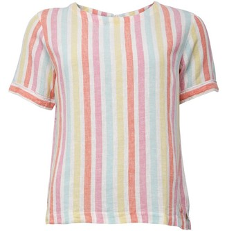 Crew Clothing Womens Vertical Stripe Linen Woven Top Multi