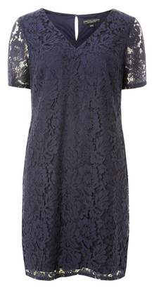 Dorothy Perkins Womens Navy Two Tone Lace Shift Dress