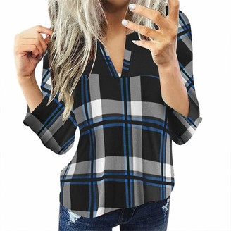 Yivise Womens Long Sleeve Plaid Shirts Plus Size Sexy Henley V Neck Casual Loose Boyfriend Tunic T Shirts Tops Blouses(White Medium)