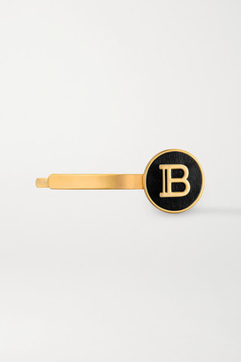 Balmain Paris Hair Couture Gold-plated And Leather Hair Slide - one size