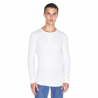 American Apparel Men's Baby Thermal Henley Long Sleeve T-Shirt