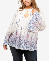 Lucky Brand Trendy Plus Size Bell-Sleeve Keyhole Blouse