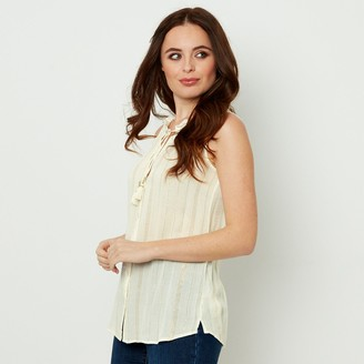 Joe Browns Buttoned Tie-Neck Blouse