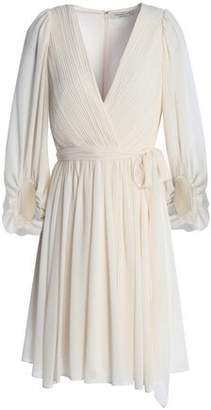 Halston Wrap-effect Pleated Chiffon Dress