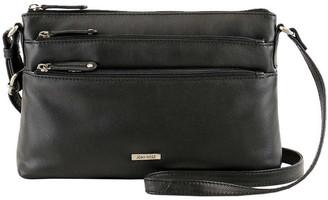 Joan Weisz JWQ108 Safari E/W Zip Top Black Crossbody Bag