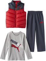 Puma Toddler Boy Quilted Vest, Long Sleeve Tee & Pants Set