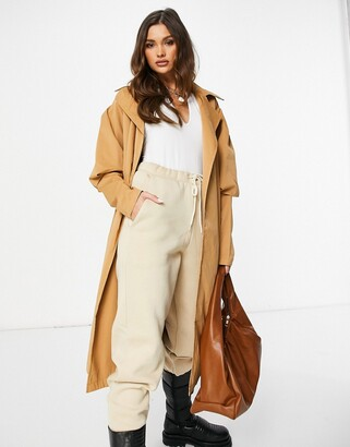 I SAW IT FIRST puff sleeve trench coat in brown