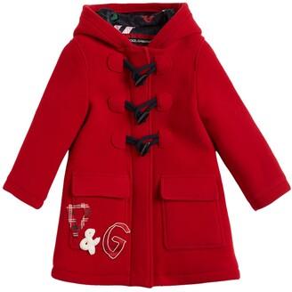 Dolce & Gabbana Hooded Wool Duffle Coat W/ Logo Patch