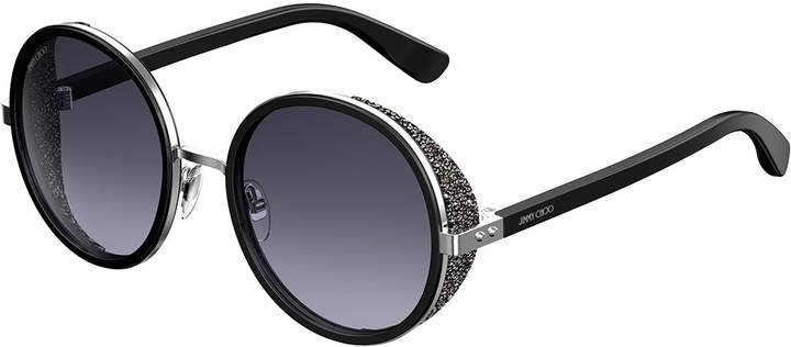 Jimmy Choo Andien Textured Round Sunglasses