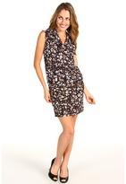 MICHAEL Michael Kors Petite Bed Rock S/L Cowl Dress (Washed Indigo) - Apparel