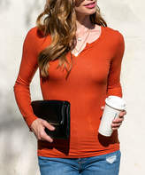 Doublju Women's Blouses CLAY - Clay Fitted Ribbed Long-Sleeve Tee - Women