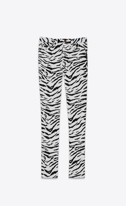Saint Laurent Skinny Fit Jeans Skinny Jeans In Black And White Zebra-print Stretch Denim Black 26