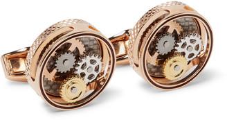 Tateossian Skeleton Gear Rose Gold-Plated, Carbon Fibre and Enamel Cufflinks - Men - Rose gold