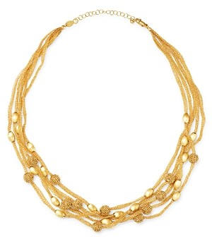 Bloomingdale's 14K Yellow Gold Beaded 5-Row Mesh Necklace, 17 - 100% Exclusive