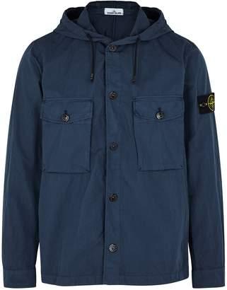 Stone Island Navy Hooded Cotton-blend Jacket
