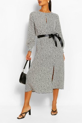 boohoo Dalmation Print Split Detail Long Sleeve Midi Dress