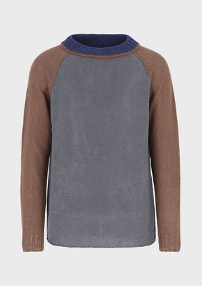 Emporio Armani Colour-Blocked Linen Sweater