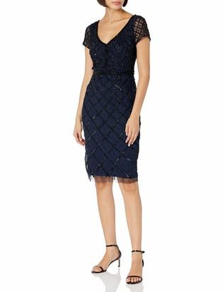 Adrianna Papell Women's Cap Sleeve V-Neck Short Dress