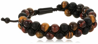 Steve Madden Men's Brown Simulated Tiger's Eye Double Beaded Adjustable Bracelet in Black IP Plated Stainless Steel