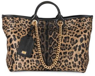 Dolce & Gabbana Large Capri Leopard-Print Shopper