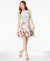 Speechless Juniors' 2-Pc. Lace Floral-Print Dress