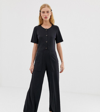 Monki short sleeve wide leg jumpsuit in dark grey-Black