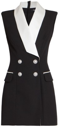 Balmain Double-Breasted Virgin Wool Mini Dress