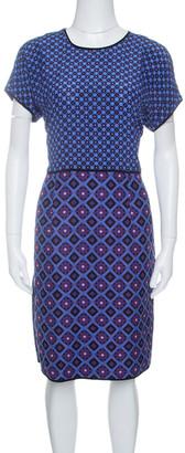 Victoria Victoria Beckham Purple and Blue Diamond Pattern Silk and Jacquard Dress M
