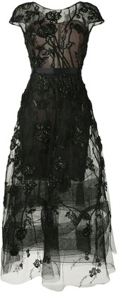 Marchesa cap-sleeves A-line dress