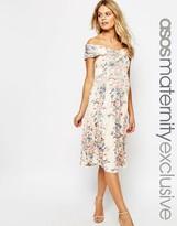 Asos Twist off Shoulder Skater Midi Dress in Vintage Floral