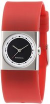 Rosendahl Ladies Watch IV 43262 with Black Dial Polished Stainless Steel Case and Red Polyurathane Strap