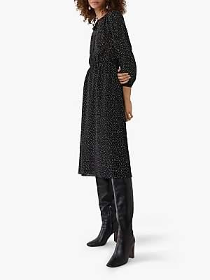 Warehouse Polka Dot Button Dress, Black