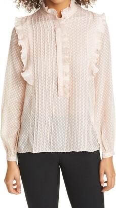 Reiss Taylor Ruffle Detail Jacquard Long Sleeve Blouse