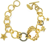 Roberto Cavalli Lion Golden Metal Bracelet w/Crystals